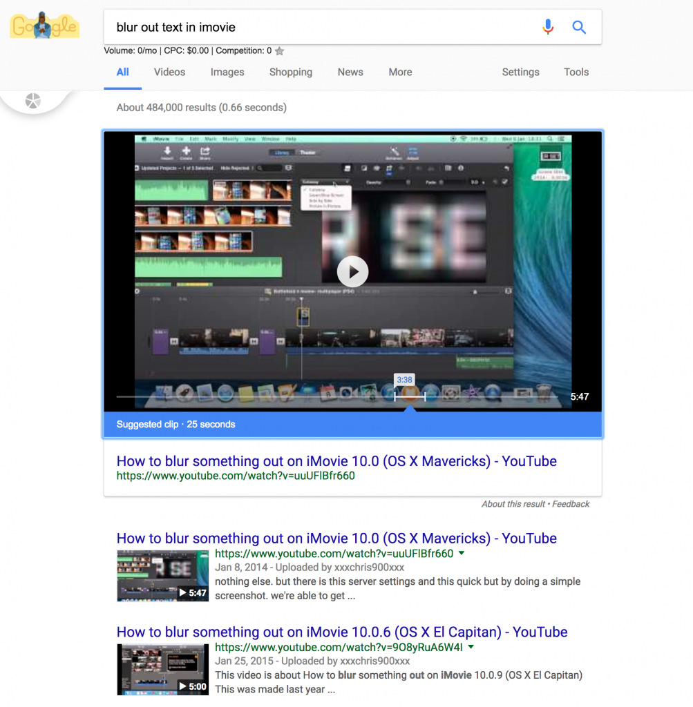 Google suggested clip YouTube Result