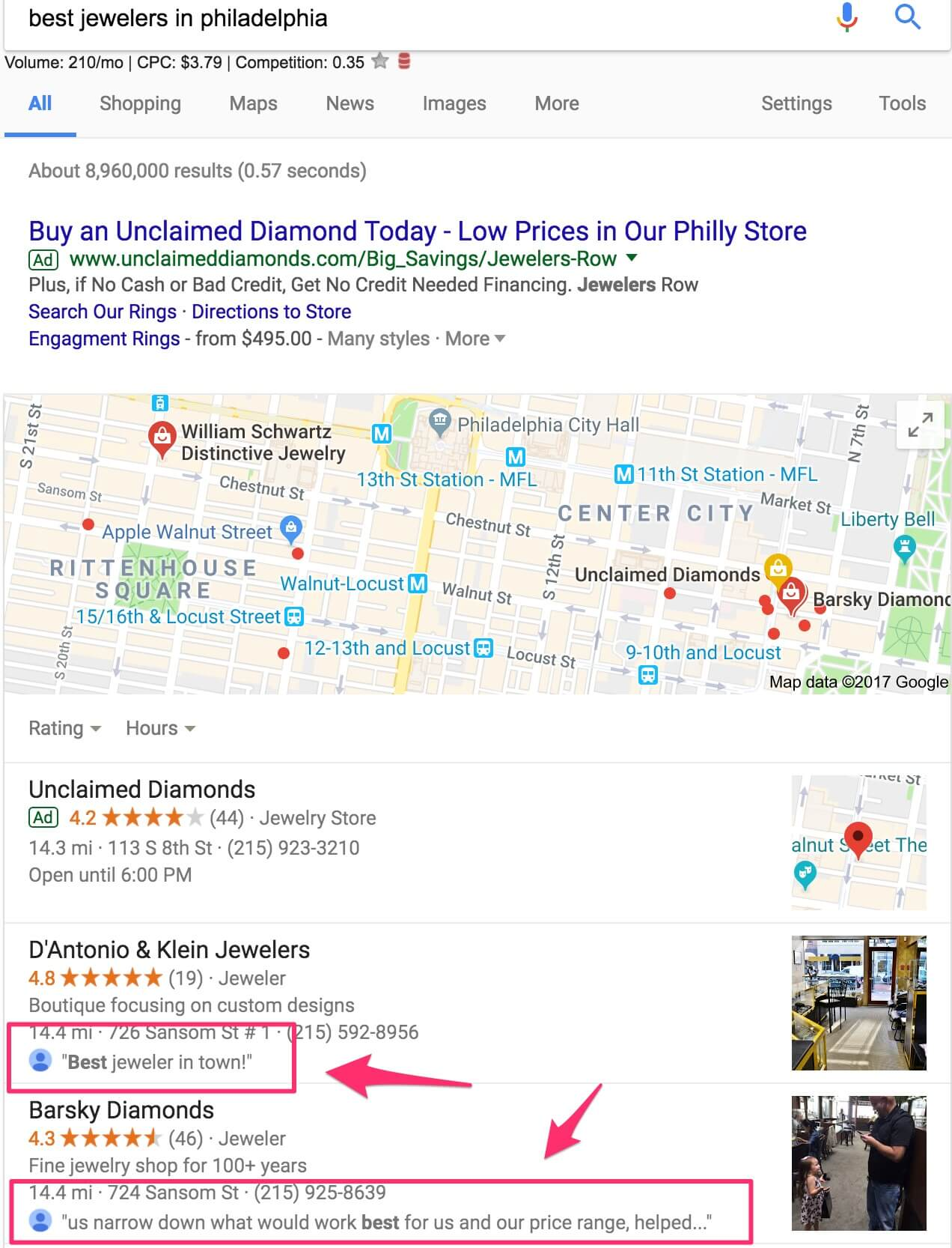 Google Adds Keyword Reviews to Local Maps